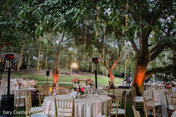 Unique Indian wedding reception table setup.