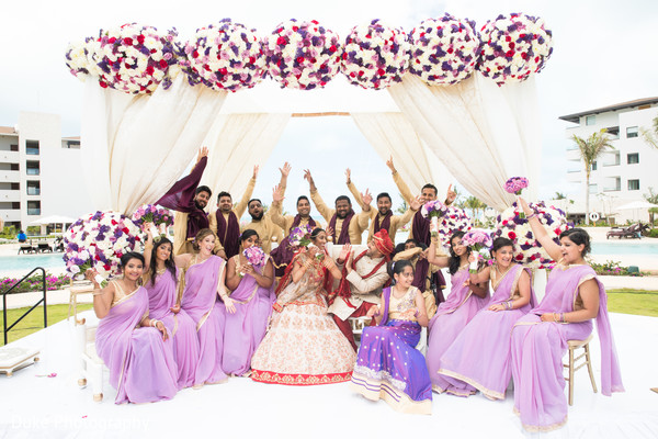 maharani and raja,indian wedding ceremony,mandap,indian bridesmaids and groomsmen