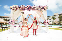 Magical mandap decoration with bride and groom's capture.