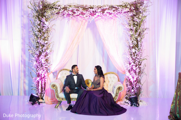 indian bride and groom,indian wedding reception fashion,wedding stage decor