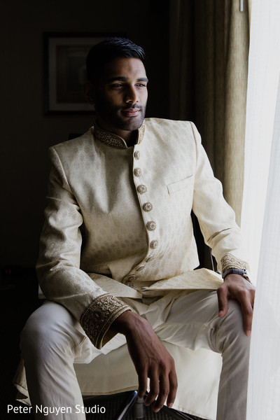 indian groom fashion,beige sherwani,getting ready