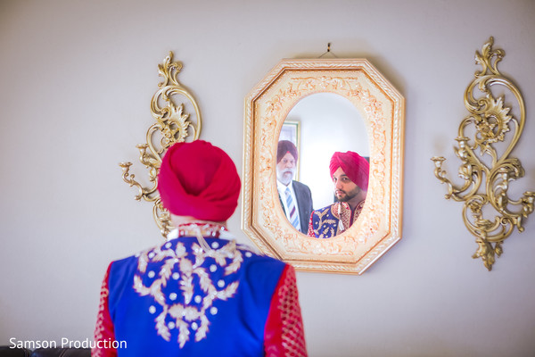 Colorful capture of the Indian groom wearing the Pagadi.