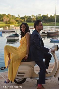 Ravishing Indian couple posing outdoors.