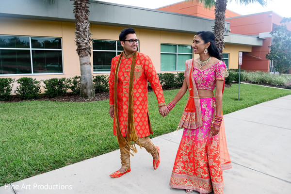 indian bride and groom,indian pre-wedding fashion,sangeet fashion,sangeet