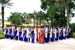 Memorable Indian bride and groom with bridesmaids and groomsmen capture.