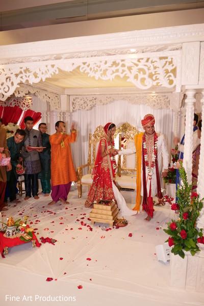 Indian bride and groom on Agni Pradakshina ritual.