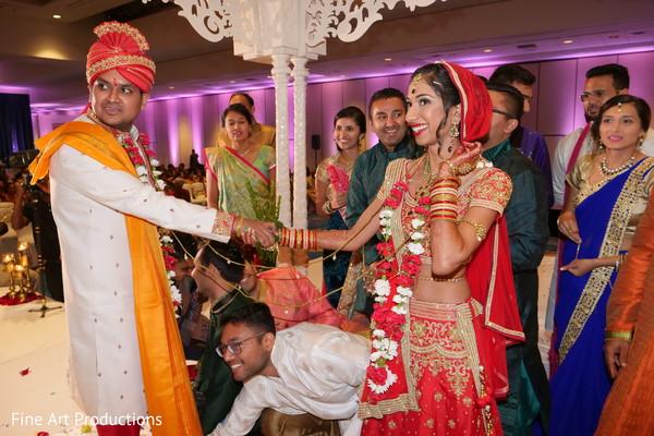 Indian bride and groom during Saat Pheras capture.
