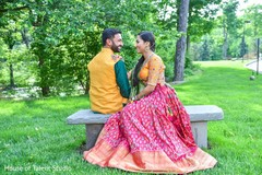 Lovely couple with their sangeet outfits