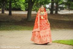 Indian bride walking to meet the groom