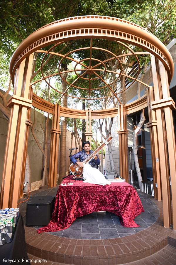 citar player,indian wedding live music,indian wedding stage decor