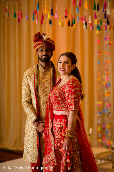 Dazzling portrait of the Indian couple holding hands.
