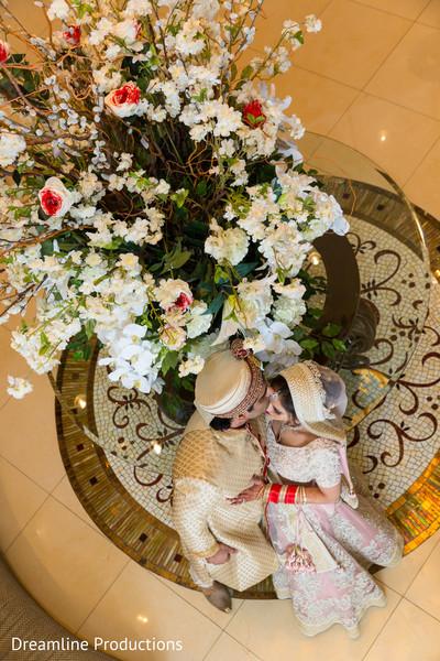 flower arrangement,indian couple,maharani,indian groom