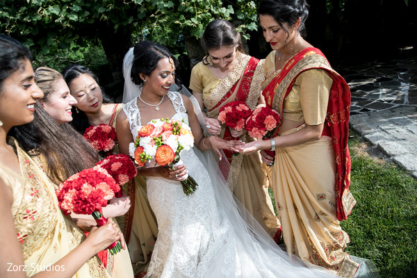 indian bride,indian bridal white wedding dress,indian bridal bouquet,indian bridesmaids