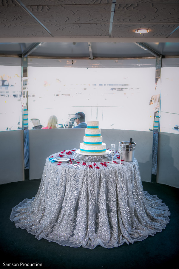 Beautiful Indian wedding cake waiting for guests.