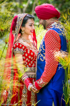 Striking shot of the Indian newlyweds outdoors.