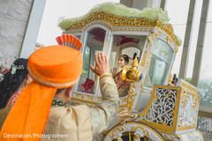 Indian weddings guests saying goodbye to the newlyweds