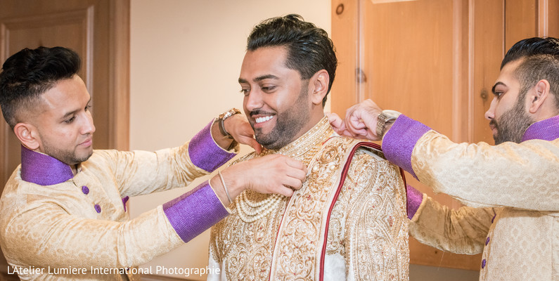 Elegant Indian groom getting ready.