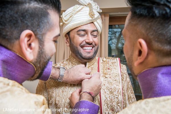 Indian groom  with his Turban Sehra and his sherwani.