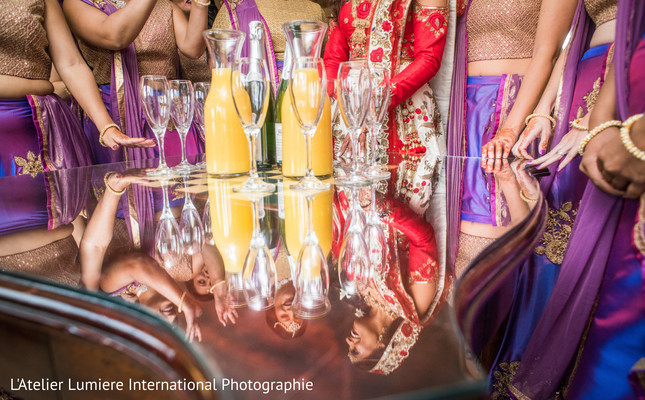 Wonderful capture of Indian bride with bridesmaids.
