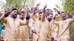 Indian groomsmen during baraat celebration.