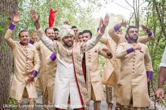 Indian groom and  groomsmen at baraat.