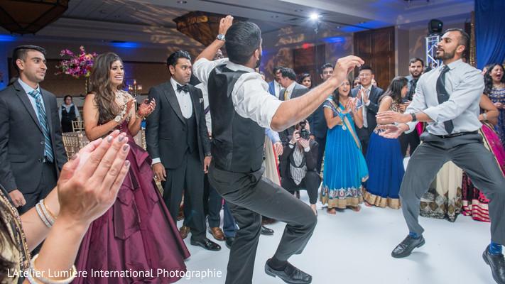 Upbeat Indian groomsmen dance performance.