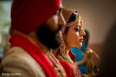 Enchanting Indian lovebirds during ceremony.