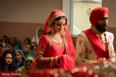 Indian bride and groom during their wedding ceremony capture.