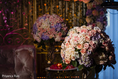 Close up of the flower compositions at the reception