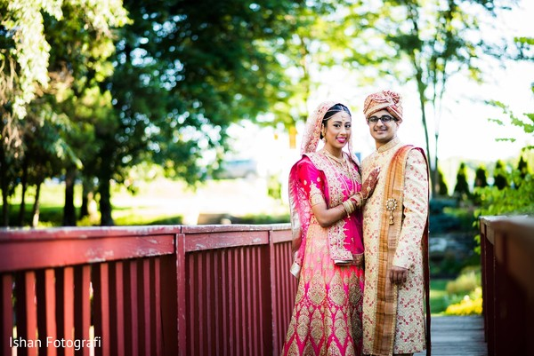 Portrait of the Indian couple outside for pictures