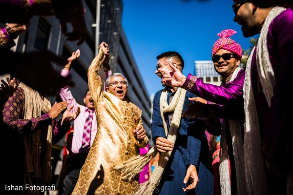 Special guest cheers as the fun Baraat starts