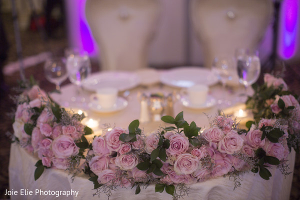 floral arrangements,tables,indian wedding,maharani