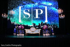 Personalized Indian wedding stage lights decoration.