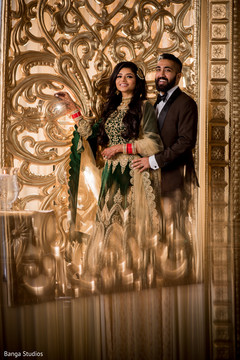 Dreamy Indian bride and groom reception photography.