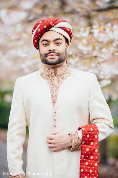 Glamorous Indian groom portrait.