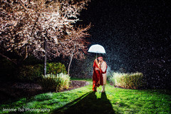 Dreamy Indian bride and groom outdoors portrait.
