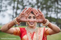 Marvelous Indian bridal makeup and mehndi art.