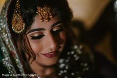 Lovely bride with her makeup done portrait.