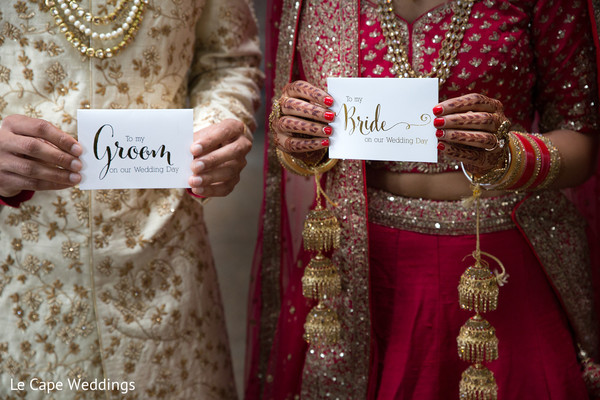 Indian bride and groom personalized notes