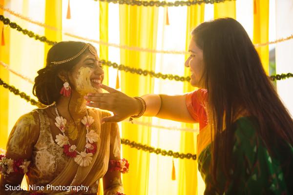 Haldi rituals continue as the beautiful maharani smiles