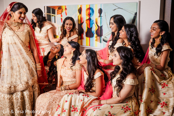 indian bride,bridesmaids,maharani,indian wedding