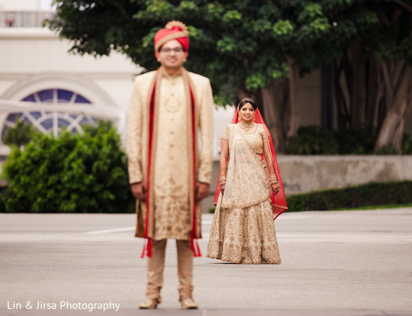 sherwani,indian bride,outside,indian wedding