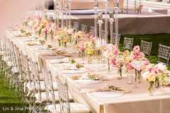 Overview of the beautiful Indian wedding table and centerpieces