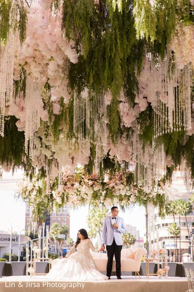 indian wedding,floral,newlyweds,decoration