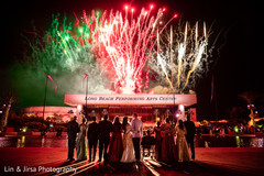 Beautiful take of the Indian newlyweds and special guests observing the fireworks