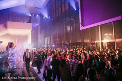 Fun reception party begins as guests dance