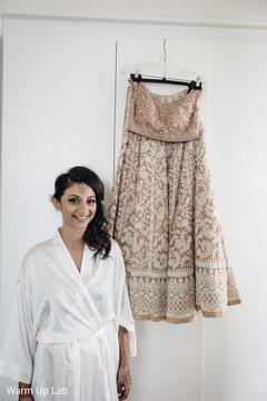 Lovely bridal lengha skirt and open shirt lengha.