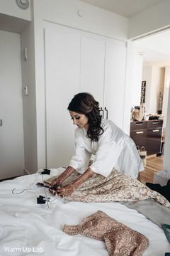 Maharani getting her lengha skirt  for wedding ceremony.