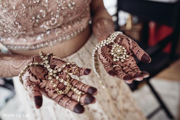 Marvelous Indian bridal Hath Panja bracelet and polki.
