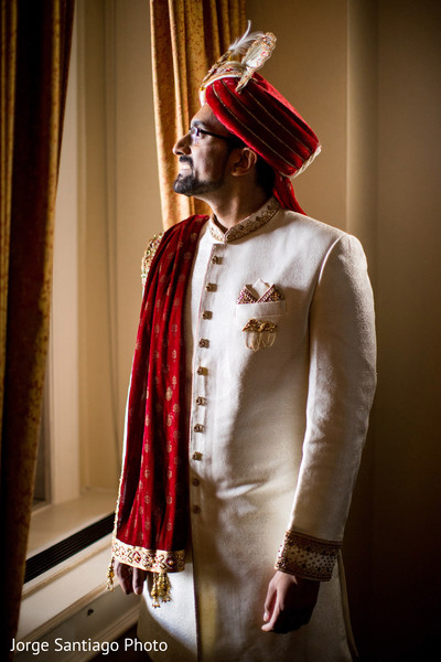 Portrait of the elegant Indian groom moments before the wedding